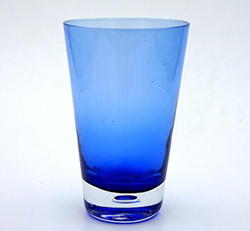 handmade cased color tumbler solid color blue glass with bottom bubble