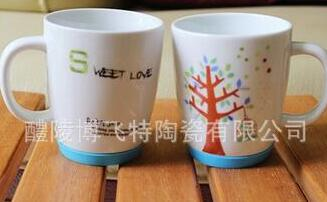 Daily ceramic cup with silica gel cover and silica gel cover bottom cup