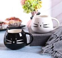 Cat face ceramic cup  marble ceramic cup Breakfast milk coffee cup
