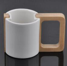 Korean ceramic cup with wooden handle