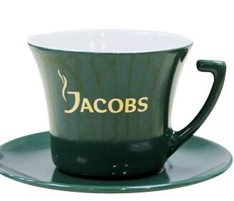 200cc Ceramic Porcelain Cup and Saucer Set with Golden Jacobs Print, Customized Designs are Welcome