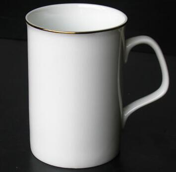 9-ounce White-coated Mug with Diameter of 80mm and Height of 95mm; Without Gold Rim, Ear Handle