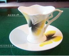 Butterfly ceramic coffee cup and dish